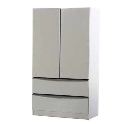 SanGiacomo Modernist Style White Gloss Lacquer and Silver Linen Press