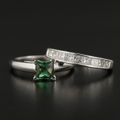 14K White Gold Tourmaline Ring and 1.02 CTW Diamond Channel Band