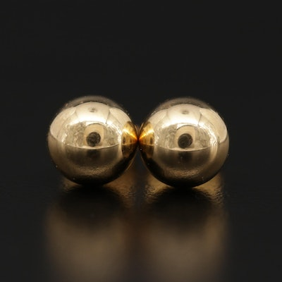 18K Yellow Gold Sphere Stud Earrings