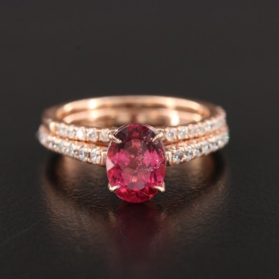 14K Rose Gold Pink Tourmaline and Diamond Ring and Band Set