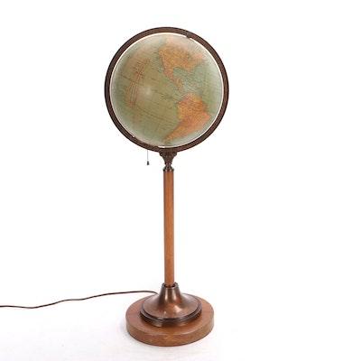 "George F. Cram 12"" Illuminated Terrestrial Standing Globe, 1930s"