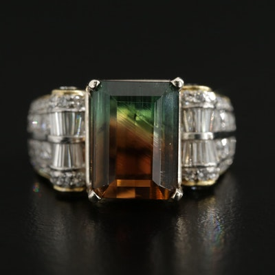 18K Yellow Gold 5.30 CT Tourmaline and 1.02 CTW Diamond Ring