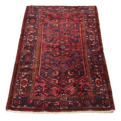 4'5 x 6'11 Hand-Knotted Persian Zanjan Rug, 1960s