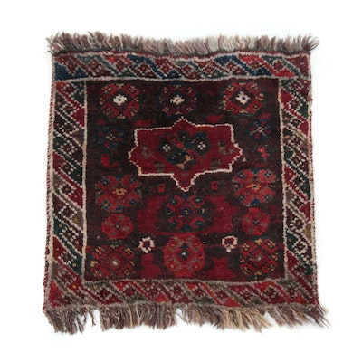 1'7 x 1'9 Hand-Knotted Persian Qashqaie Shiraz Rug, 1920s