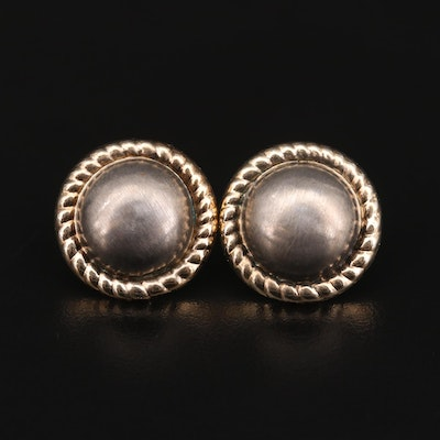 14K Yellow Gold and Sterling Silver Button Earrings