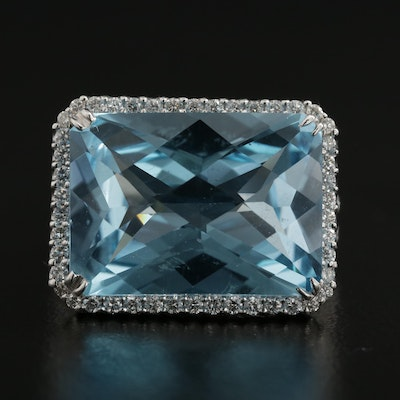 18K White Gold 17.70 CT Blue Topaz and Diamond Ring