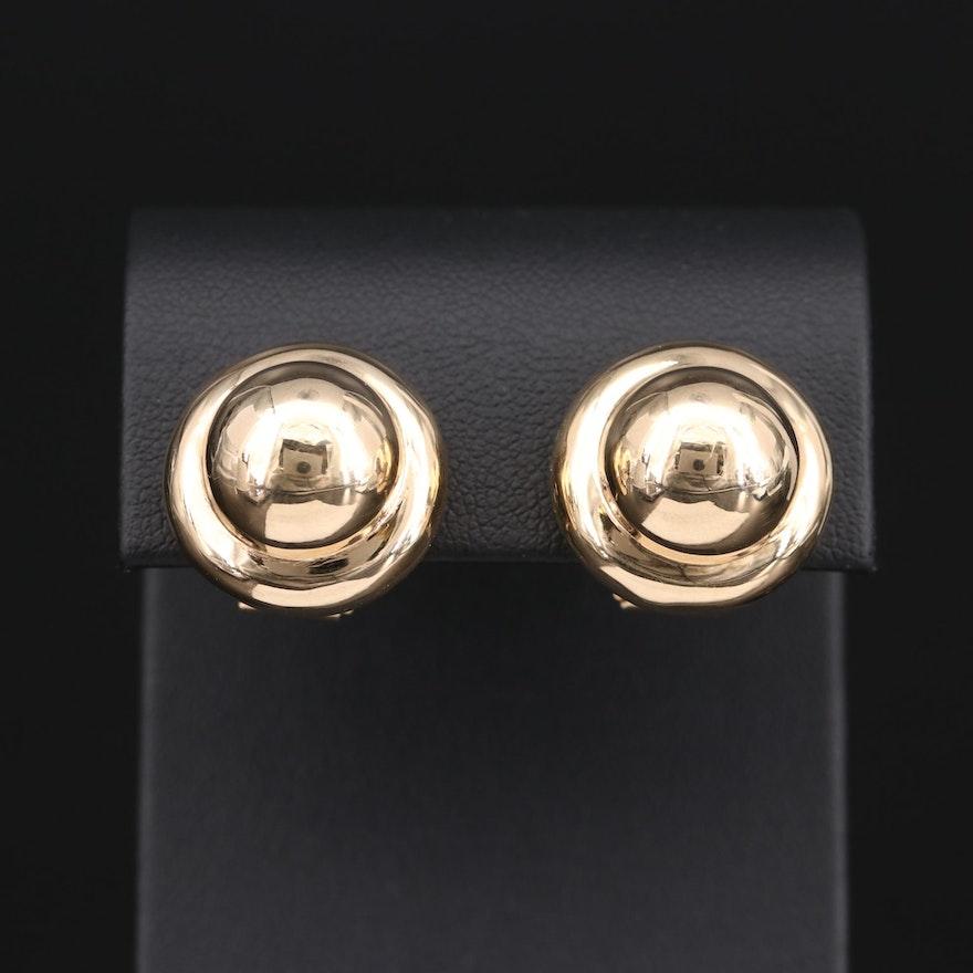 14K Yellow Gold Button Earrings
