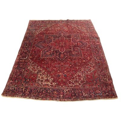 8'2 x 11'5 Hand-Knotted Persian Heriz Rug, 1950s