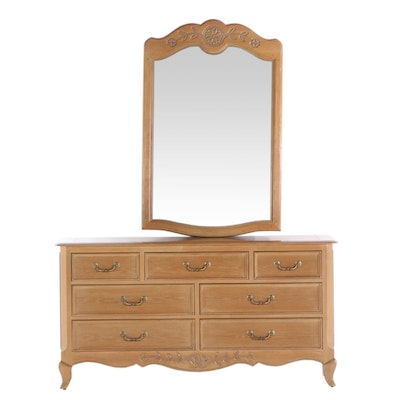French Provincial Style Oak Dresser and Wall Mirror, Late 20th Century