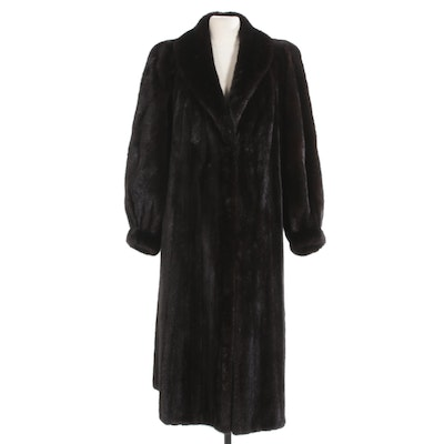 Dark Mahogany Mink Fur Coat with Banded Cuffs from Jacobson's