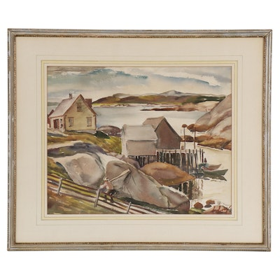 Arthur Helwig Watercolor Painting of Coastal Harbor, Mid 20th Century
