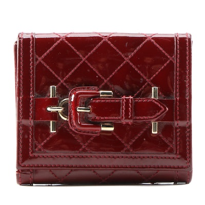 Burberry Buckle Wallet in Burgundy Quilted Patent Leather and Leather