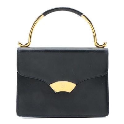 Karl Lagerfeld Black Leather Envelope Style Top Handle Bag, Vintage