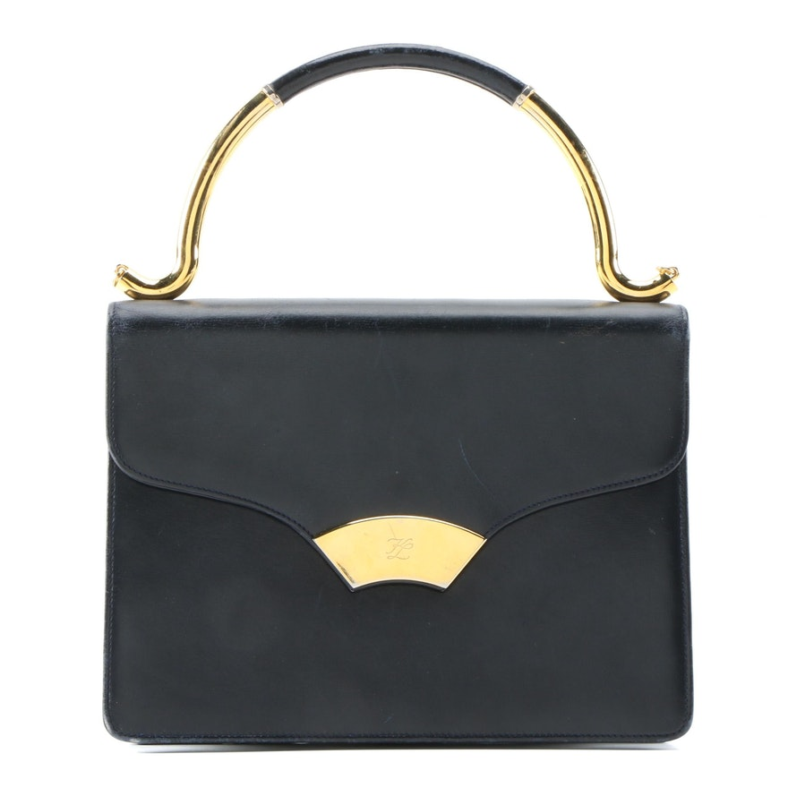 Karl Lagerfeld Black Leather Envelope Style Top Handle Bag, Vintage