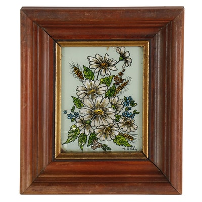 Reverse Glass Floral Painting, 20th Century