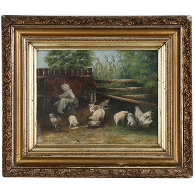 Charles D. Hoover Pastoral Scene Oil Painting, Early 20th Century