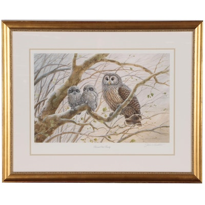 "John Ruthven Offset Lithograph ""Barred Owl Family"""