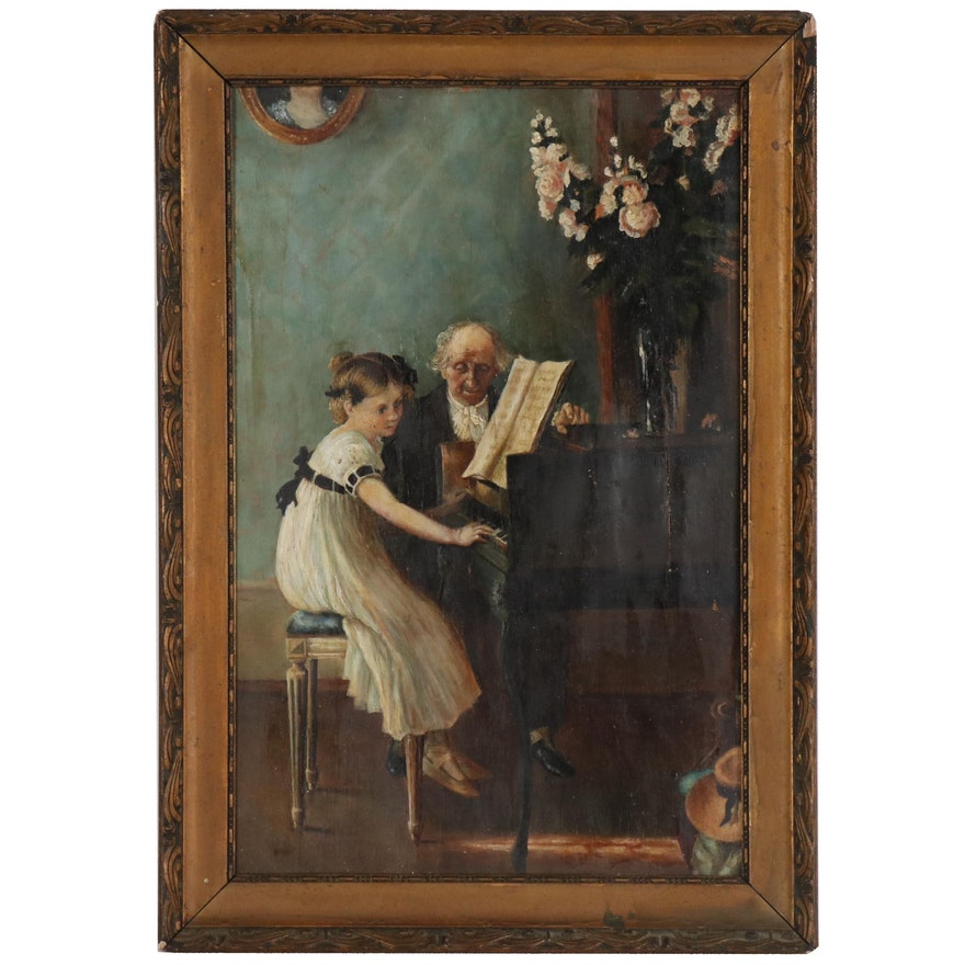 Genre Scene Oil Painting, Late 19th Century