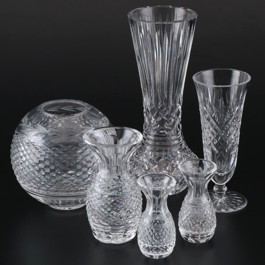 "Waterford ""Glandore"" Crystal Rose Bowl and Other Waterford Vases"