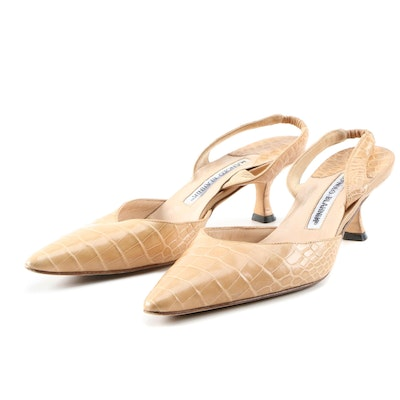 Manolo Blahnik Carolyne Beige Alligator Embossed Leather Slingbacks