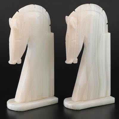 Mid Century Modern Banded Calcite Horse Head Bookends