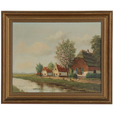 Ida Sedgwick Proper Oil Painting of Rural Landscape