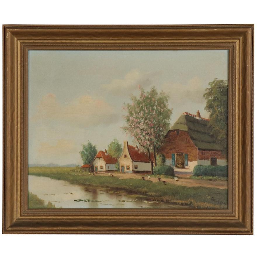 Ida Sedgwick Proper Oil Painting of Rural Landscape