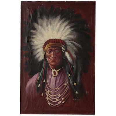 Oil Painting of Native American Chief, Mid-Late 20th Century