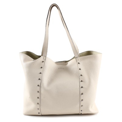 Furla Elle Rock Stud Pebbled Leather Tote with Pouch