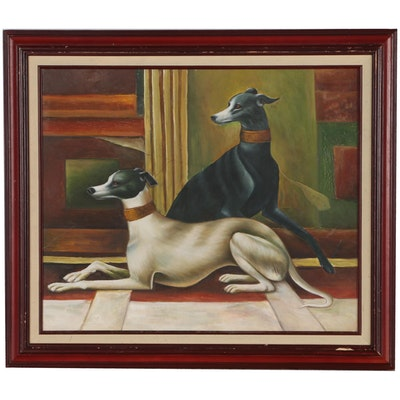 Oil Painting of Greyhounds, Late 20th Century