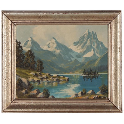 Mountain Landscape Oil Painting, Mid to Late 20th Century