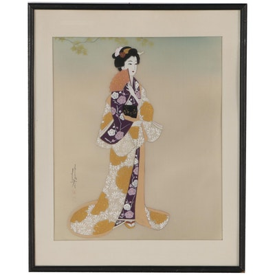 Japanese Gouache Painting of a Woman, Mid 20th Century