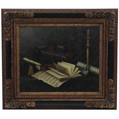 """Oil Painting after William Michael Harnett """"Music and Literature"""""""