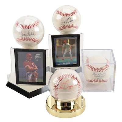 Sabo, Oester, Braggs and Browning Signed Baseballs   COA