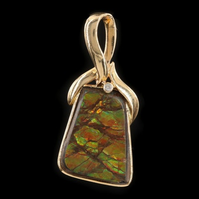 14K Yellow Gold Ammolite and Diamond Pendant