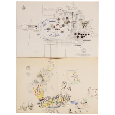 "Saul Steinberg Color Lithographs for ""Derrière le Miroir"", 1971"