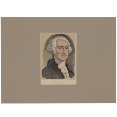 "Offset Lithograph after Currier & Ives Lithograph ""George Washington"""