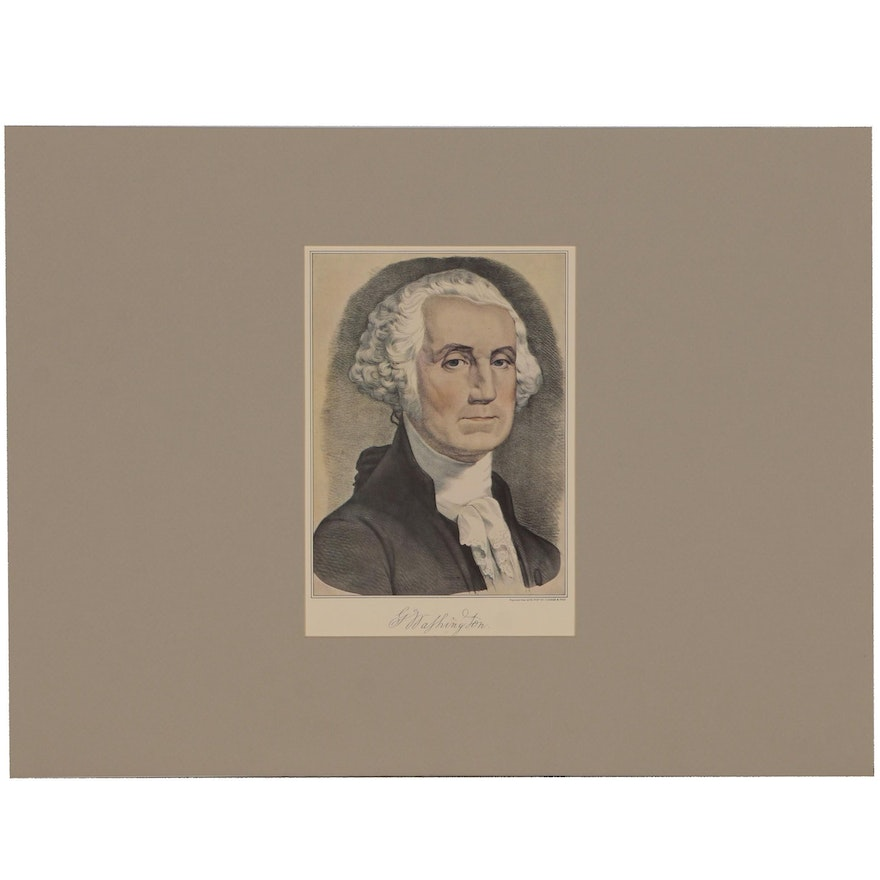 """Offset Lithograph after Currier & Ives Lithograph """"George Washington"""""""