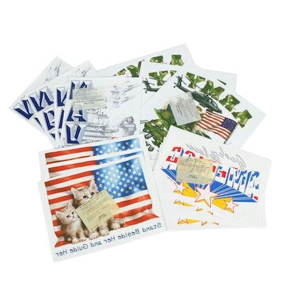 America Patriotism and Military Puff Heat T-Shirt Transfers