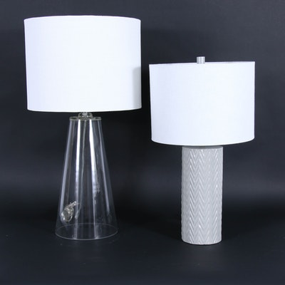 Modern Style Glass and Ceramic Table Lamps with Fabric Drum Shades