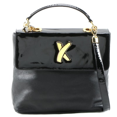 By Paloma Picasso Convertible Handbag in Black Leather with Patent Leather Trim