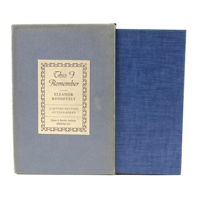 "Signed First Edition ""This I Remember"" by Eleanor Roosevelt, 1949"