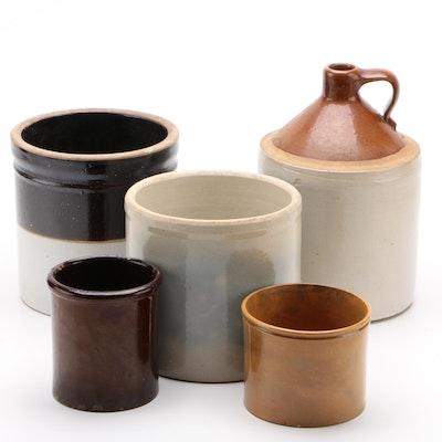 Brown Glaze and Cream Stoneware Jug, Crocks, and Pots