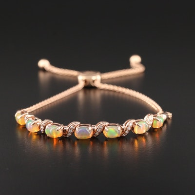 Le Vian 14K Rose Gold Opal and Diamond Bolo Bracelet