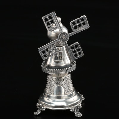 Judaica Sterling Silver Windmill Besamim Spice Tower