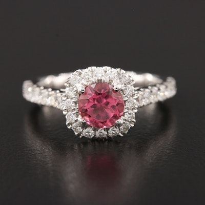 18K White Gold Tourmaline and Diamond Ring