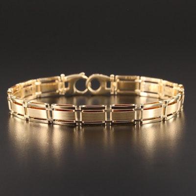 14K Yellow Gold Bar Link Bracelet