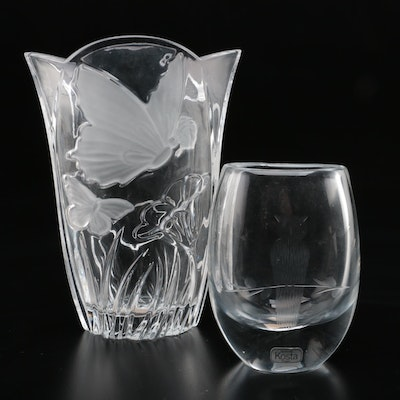 "Crystal Vases Featuring Block ""Meadow"" and Kosta Boda Signed Owl"