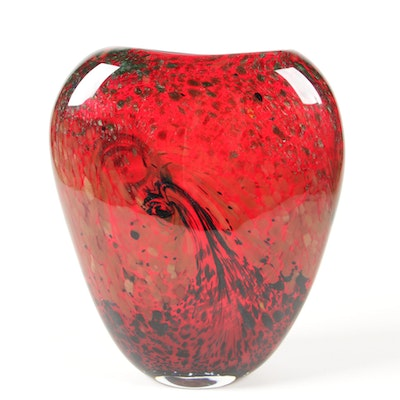 Gold Fleck Red Art Glass Vase