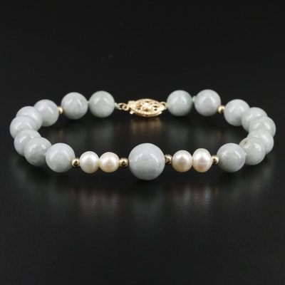 14K Yellow Gold Jadeite and Cultured Pearl Strand Bracelet